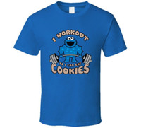 I Workout T-shirt Funny Gym Tee Cookie Monster