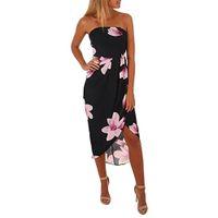 Vestiti sexy chiffoni stampati floreali casuali di estate dell'abito delle donne che vestono mini dressless senza spalline senza spalline Trasporto libero