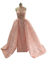2019 Blush Pink Prom Dresses with Detachable Overskirts Real Images High Neck Sheath Split Evening Gowns with Pearls Beaded Lace Appliques