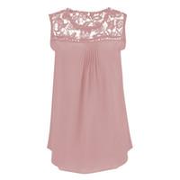 Al por mayor- Blusas Femininas Summer Blusa de las mujeres de encaje sin mangas de la vendimia Crochet camisas casuales Tops más el tamaño