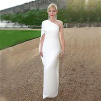 Elegant 2018 White Chiffon Sheath Evening Dresses Simple Che...