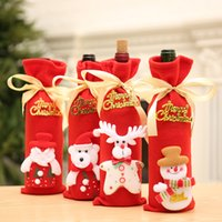 Santa Claus Wine Bottle Cover Bags Christmas Decoration Clea...