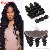 Raw Indian Loose Wave Hair Bundles with 13x4 Frontal Closure...