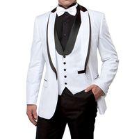 흰색과 검은 색 웨딩 남자 정장 파티에 대 한 봉 제 설정된 옷깃 사용자 정의 만든 3 조각 Groomsmen 턱시도 자 켓 바지 조끼