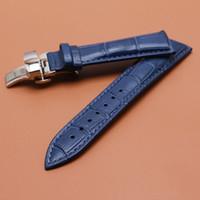 Banda de reloj de cuero genuino banda de reloj 14 mm 16 mm 18 mm 20 mm 22 mm azul oscuro correa de reloj correa de plata reloj accesorios