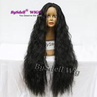 Super lungo 40 '' parrucca morbida parrucca per capelli sintetici lunghi neri neri capelli ricci capelli femmina acconciatura parrucca anteriore in pizzo svizzero