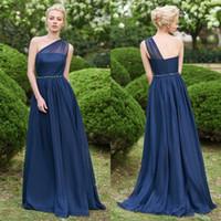 Dark Navy Frauen Chiffon Abendkleider Garten Boho Abschlussball-Kleider Eine Linie Sheer One Shoulder Long Brautjungfer Brautjungfer Wear BM0148