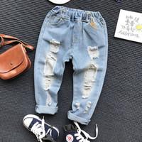 Çocuğun Kot Çocuk Kot Pantolon Giyim Çocuk Bebek Erkek Kız Rahat Gevşek Külot Moda Toddler Kırık Delik Pantolon