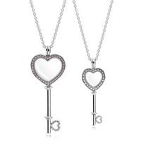Große Rosa Kleine Weiße Herz Schlüssel Schwimm Medaillon Anhänger Halskette 100% Echt 925 Sterling Silber Halskette Für Frauen Schmuck