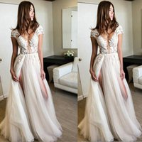 Custom size Lvory White Cap Sleeve wedding Dresses, Long Dres...