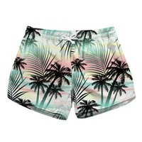 Short de plage pour femme Palm 3D Full Print Girl Short de bain décontracté Lady Digital Graphic Pantalon de bain Boardshort (RLLbp-6053)