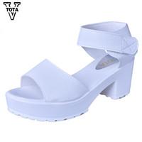 Мода женщины сандалии летняя обувь клинья открытым носком толстый каблук Mujer мягкий PU женщин сандалии на платформе Туфли на высоком каблуке женщина