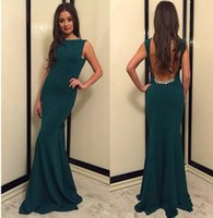 2018 Sexy Open Back Mermaid Prom Dresses with Beaded Jewel N...