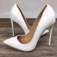 05fe7197b485 Novas mulheres brancas de salto alto sapatos de marca exclusiva PU sapatos  femininos 10 cm12 cm
