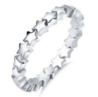 925 anillo de la venda de ley hecho a mano del partido de apilamiento de plata de la estrella de las mujeres de la boda joyería de moda de la vendimia Nueva marca de lujo para el compromiso de regalos