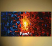 handmade abstract bright color oil painting on canvas blue a...