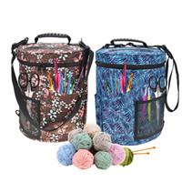 Grande-tamanho Cylinder Crochet Gancho Saco De Armazenamento De Lã Fio De Armazenamento Saco Tote Organizador Para Tricô E Tricô De Poliéster 600D