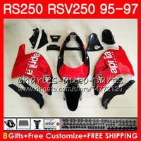 Кузов для Aprilia RS-250 RSV250 RS250 95 96 97 кузов 101HM10 RSV250RR RS250R 95 97 RSV 250 RR RS 250 1995 1996 1997 Обтекатель красный черный