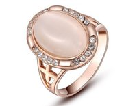 Classic jewelry women ring Crystal Rose Gold Oval Opal Eye R...