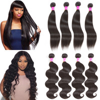 100% Unprocessed 4 Lots Straight &Body Wave Human Hair Bundl...