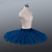 Ballet profesional Tutus azul marino Panqueque de panqueques Práctica de ensayo Ballet Media Tutu Falta Firma Tulle Profesional Half Ballet Tutu