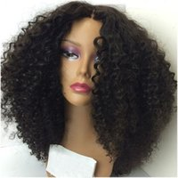 Cheap Middle Parting Kinky Curly Wigs High Temperature Hair ...