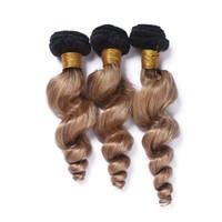 Virgin Malaysian Ombre Honey Blonde El cabello humano teje tramas dobles Ola suelta Ondulado # 1B / 27 Dark Root Brown Light Brown Paquetes de cabello humano Ofertas