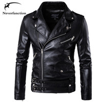 2017 men Biker Faux Leather Jackets Casual Motorcycle Slim m...