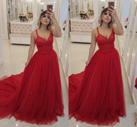 Charming Red Evening Dresses V Neck Spaghetti Sleeveless Zip...