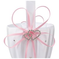Double Heart Wedding Flower Girl Basket White Satin Rhinesto...