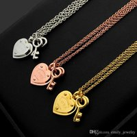 T letter LOVE heart double key double necklace ladies foreig...