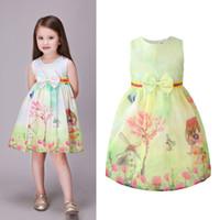 AiLe Кролик новая девушка платье дети печати платья дерево ветряная мельница лук для детей одежда дети платье размер девушки летняя одежда