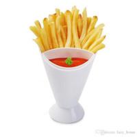 Frieten met Dipping Cup Groente Salad Glas Zelfstand Kegel Vorm Servies Home Keuken Tool Aardappel Houder Cups