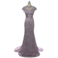 2018 wangyandress violet satin satin sirène mère de la mariée robes coutumes balayer train dentelle dentelle robe de mère officielle robe de soirée