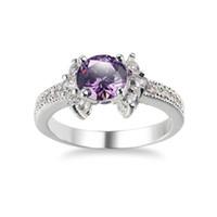 3 Stücke Weihnachtsgeschenk Klassische Glanz Topaz Kristall Ring Zirkonia Edelsteine Russland 925 Silber Überzogene USA Hochzeit Ring Fow Frauen