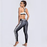 Pink Letter Print Yoga Pants Women Gym Legging Pants Sports ...