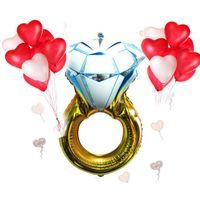 30 дюймов/43 дюймов свадебные принадлежности бриллиантовое кольцо алюминиевый шар свадебный номер украшения День Святого Валентина украшение партии воздушный шар