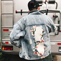Mens Flower Embroidery Denim Jacket Fashion Men Bomber Baseb...