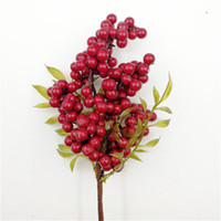 لين الرجل الديكور الاصطناعي التوت محاكاة الزهور باقة الفواكه الرئيسية الديكور رغوة عيد الميلاد الأحمر التوت الاصطناعي النباتات وهمية