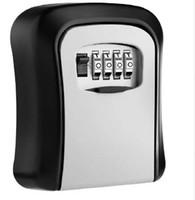 مفتاح قفل مربع الحائط سبائك الألومنيوم مفتاح خزنة مانعة لتسرب الماء 4 أرقام مزيج مفاتيح تخزين صناديق قفل داخلي في الهواء الطلق