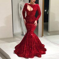 2018 Luxury Evening Dresses Jewel Long Sleeves Sequined Mermaid Prom Gowns Sexy Back Zipper Sweep Train Custom Made Formal Party Gowns