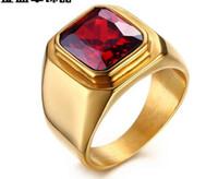 Личность мода кольцо инкрустированные красный драгоценный камень тенденция ювелирные изделия титана стали кольцо Кольцо RC-321