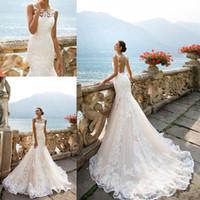 Milla Nova Modest Sheer boda de playa de los vestidos de sirena de Bohemia del cuello de la ilusión Volver Applique del cordón de Boho del vestido de novia de la boda barato