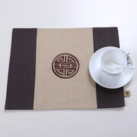 Ethnic Embroidered Happy Chinese Linen Placemat Cotton Recta...