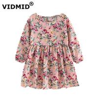 Vidmid meninas dress 2017 nova primavera verão meninas roupas flores frutas manga comprida dos desenhos animados para crianças vestidos de bebê 6002 08