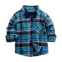 Весна Осень Ребенок Мальчики Главные Рубашки Детский Малыш Мальчики Длинные Рукавы Рубашка Поверните Воротник Блуза