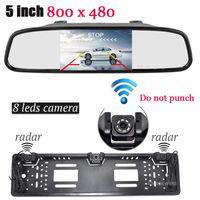 800x480TFT Moniteur LCD arrière de voiture Système UE voiture Licence Rearview Caméra Cadre de plaque Deux capteurs de recul de stationnement radar 3 in1
