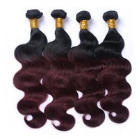 1B / 99J scuro Vino Ombre Capelli 4 Bundles Body Wave brasiliana Ombre colorati tessuto dei capelli umani 4 fasci di capelli di estensione 12-26 pollici