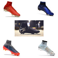 2018 Derniers Hommes Mercurial Superfly Ronald Exclusive En Or Rouge CR7 FG Bottes De Football Baskets De Formation Crampons
