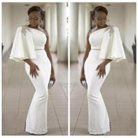 Vogue Evening Wear Dresses White One Shoulder Half Sleeves Mermaid Formell Kappor Afrikansk Dubai 2018 Long Prom Celebrity Gown